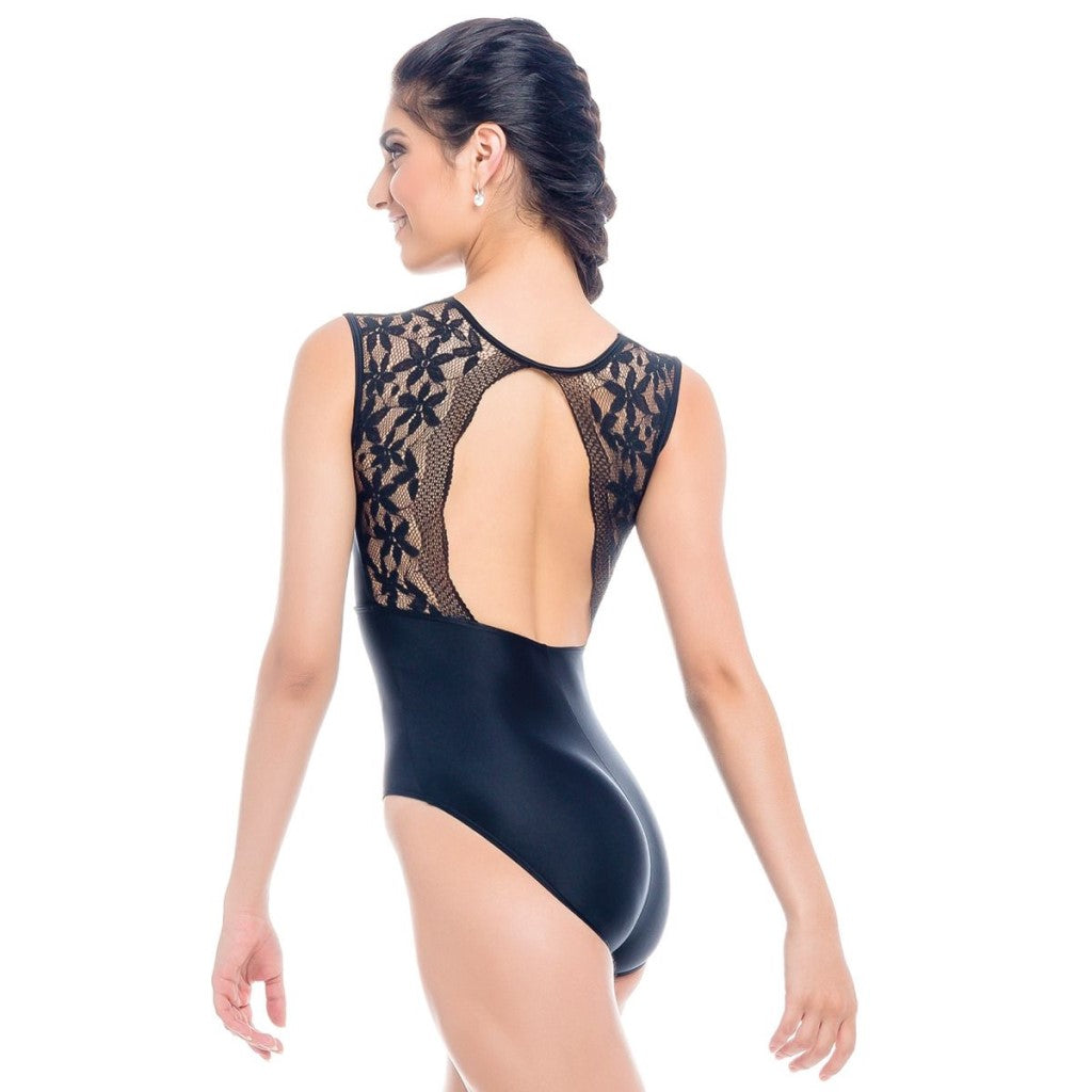 rde2023 black mesh lace shimmer black so danca leotard lace back