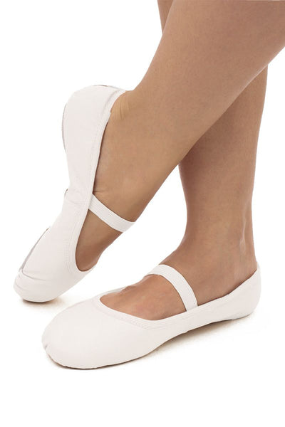 So Danca Full Sole White Leather Ballet Shoes
