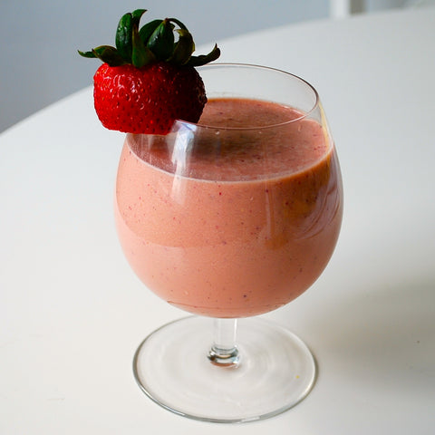 strawberry, vanilla, coconut, and peanut butter organic whey protein smoothie