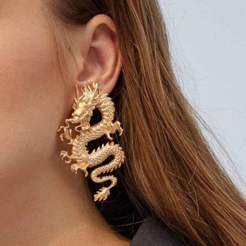 Loop Earring Dragon Gold | Engaging The Dragon