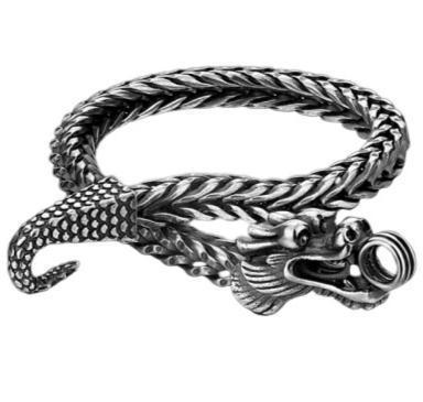 Man Silver Bracelet Dragon | Engaging The Dragon