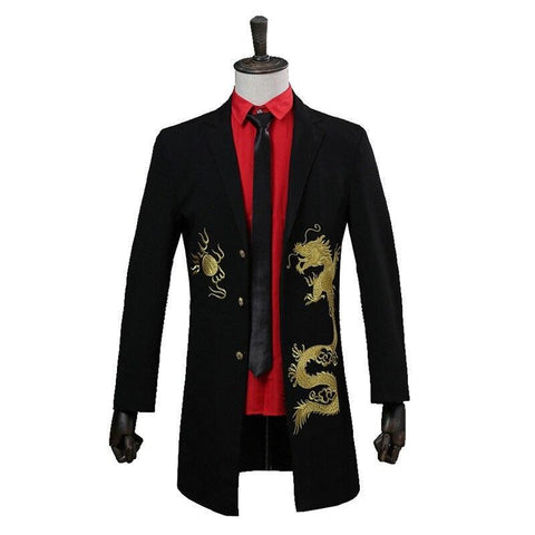 Man Gold Embroidered Dragon Jacket