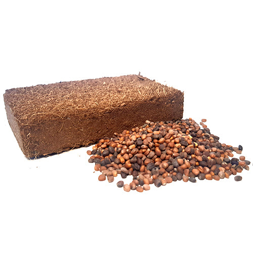 1 Litre coco coir brick with organic microgreen seeds beside it