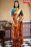 Rich Light Orange And Golden Pallu Kanjivarm Style Soft Silk Desginer Saree,Sari