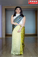Admirable Lemon Off White Black Colored Hand Block Cotton Silk Saree,Sari