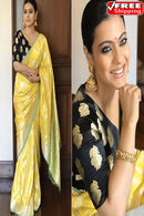 Fabulous Yellow  Colored Machine Weaving Soft Silk Designer Sarees,Sari