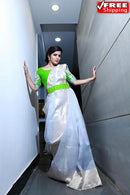 Enegretic White Color Occasion Wear Designer Soft Silk pattu Saree,Sari