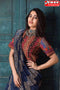 Admirable Blue and Coffee Color Box Pattern Hand Printed  Cotton Silk Designer Sarees,Sari