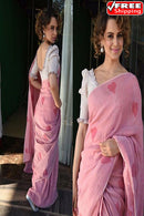 Amazing  Light Pink Colored  Designer Linen Cotton Saree,Sari