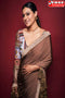 Flaunt Coffee Colored Soft Satin Silk Saree,Sari