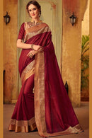 Eye Catching Maroon Color Soft Silk Designer Sarees