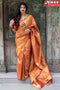 Appealing Orange  Colored Kanchipuram Soft Silk Designer Sarees,Sari