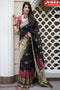 Arresting Black Color Hand Weaving Partywear Soft Silk Saree,Sari