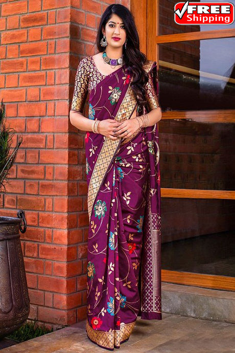 Brilliant Wine Color Soft Silk Designer Sarees,Sari