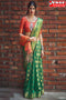 Brilliant Green Color Lariya Pattern Soft Silk Designer Sarees,Sari