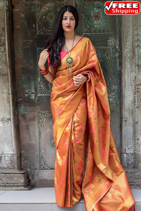 Buoyant Orange Color Soft Silk Saree