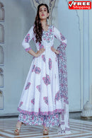 White Colored Festival Wear Digital Printed Pure Creap Silk Salwar Kamezz With Dupatta Piece