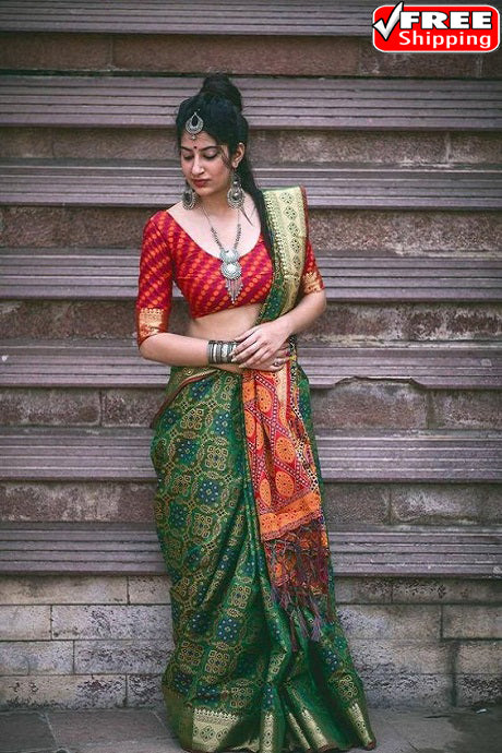Beautiful Green Color Pattola Pattern Soft Silk Designer Sarees,Sari