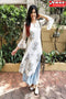 White Colored Occasional Wear Digital Printed Pure Creap Silk Kurti Plazzo