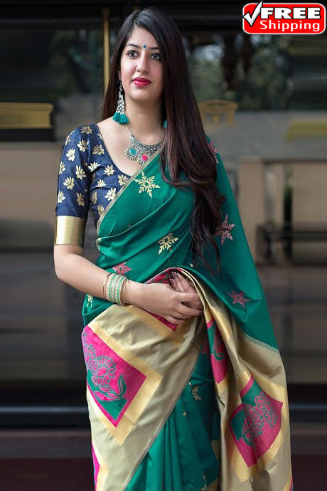 Beautiful Firoji Color Soft Silk Designer Sarees,Sari