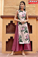 Multi Colored Occasional Wear Digital Printed Pure Zequrd Silk Kurti Plazzo