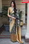 Amazing Grey N Golden Boder Color Designer Soft Silk Saree,Sari