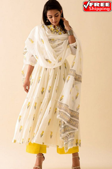 White Colored Regular Wear Digital Printed Pure Creap Silk Kurti Plazzo