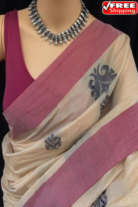 Off White and Pink Color Party Wear Hand Weaving Soft Cotton Silk Designer Sarees,Sari