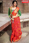 Appealing  Red Color Lariya Box Pattern Soft Silk Designer Sarees,Sari