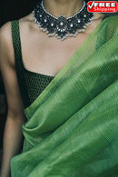 Green  Color Party Wear Hand Weaving Soft Cotton Silk Designer Sarees,Sari