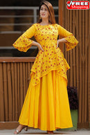 Mustered Yellow Colored Festival Wear Digital Printed Pure Satin Silk Kurti Plazzo