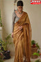 Appealing Golden Color Cotton Linen Designer Digital Print Sarees,Sari