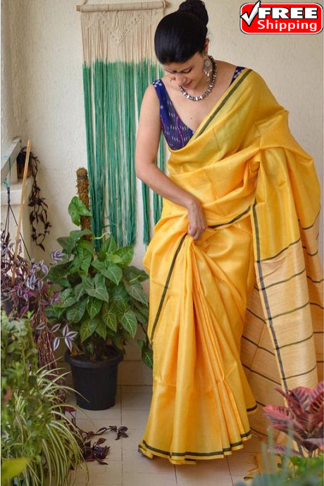 Beauteous Yellow Color Designer Soft Silk Saree