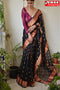 BlackColor Designer Hand Weaving Occasional Wear Soft Linen Cotton Silk Sarees,Sari