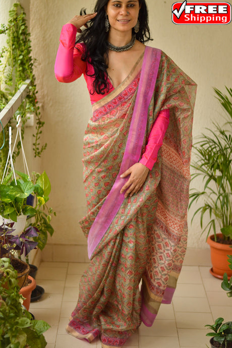 Adorning Light Cofee and Rani Color Hand loom Soft Cotton Silk Designer Sarees