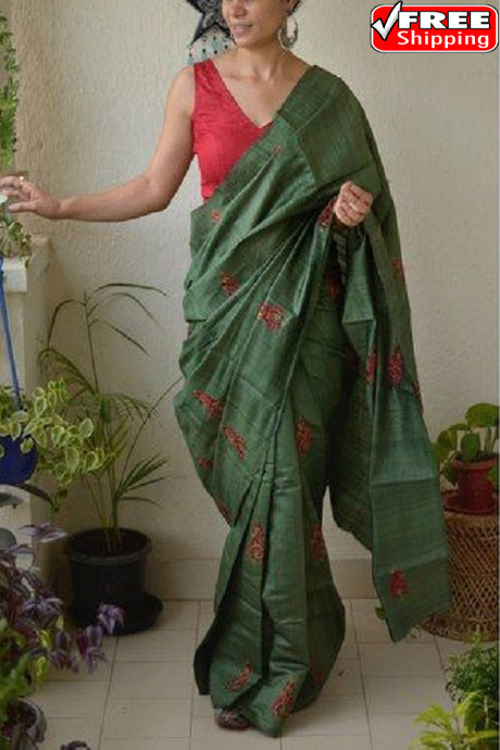 Brilliant Green Color Linen Designer Hand Weaving Saree