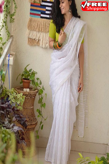 Captivating White Color Soft Cotton Silk Designer Sarees