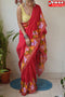 Contemporary Red Color Hand Loom Designer Cotton Silk Saree