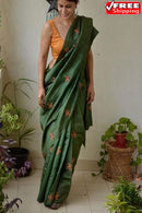 Awesome Green Color Linen Designer Soft Cotton Sarees,Sari
