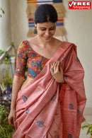 Light Pink Color Hand Loom Linen Designer Digital Print Saree