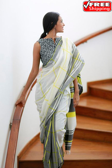 White Color Hand Loom Party Wear Linen Designer Digital Print Saree