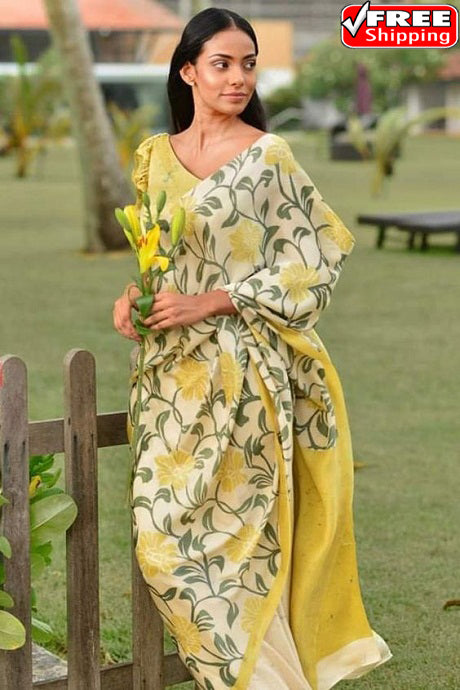 Yellow and Flower Print Color Hand Loom Party Wear Linen Designer Digital Print Saree