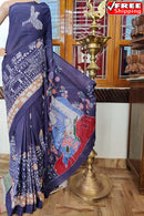 Charming Blue Color Linen Designer Digital Print Saree