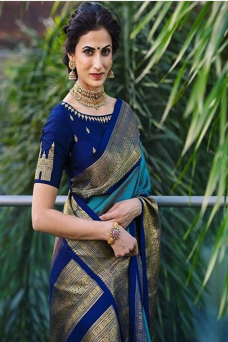 Classic Blue And Firoji Colored Fashionable Designer Silk Saree