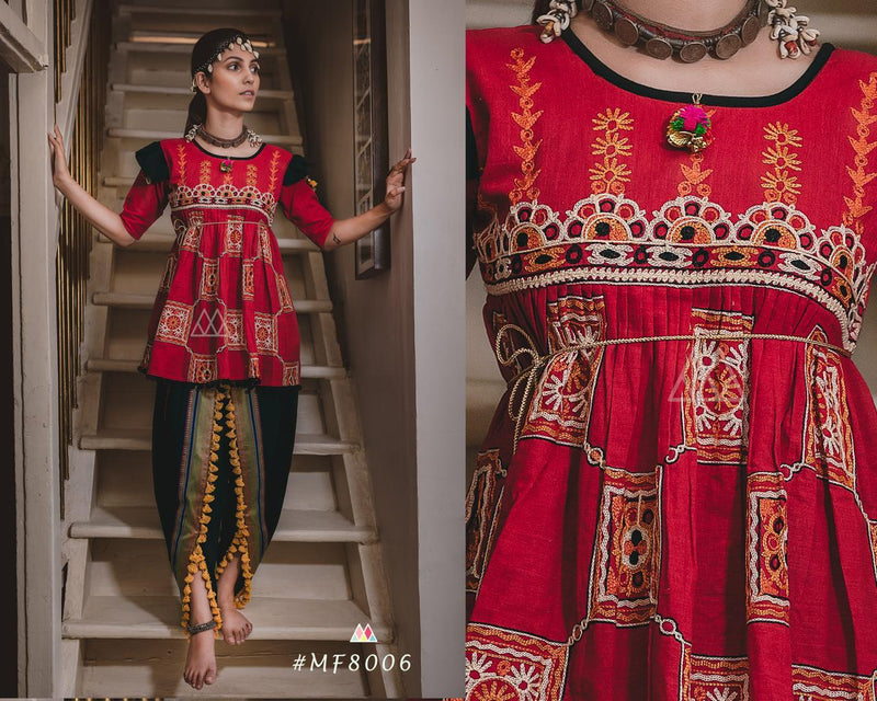 Red And Black Color Khadi Cotton Designer Kediya
