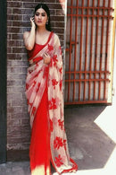 Combination Red N White Color Party Wear  Saree RR23