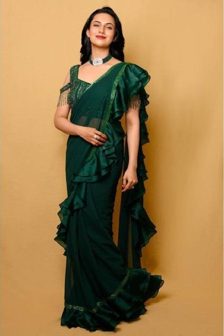 Green Color Party Wear Ruffle Saree