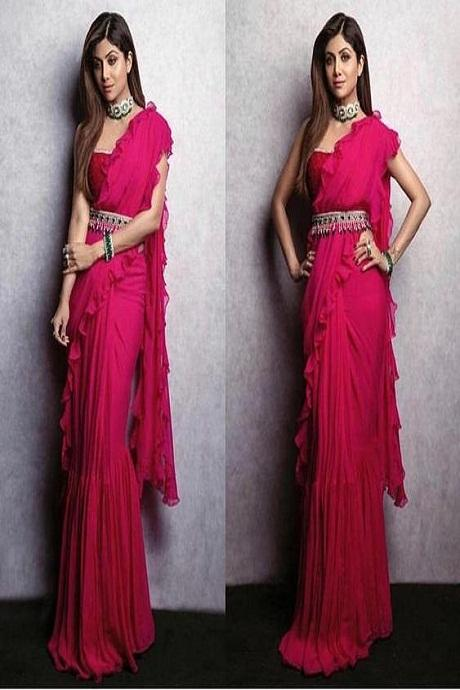 Shilpa Shetty Red Color Party Wear Ruffle Saree RR02