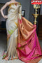 Charming Off White Color Golden Pallu Designer Cotton Silk Saree