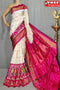 White N Rani Colored Designer Cotton soft Silk Sarees,Sari